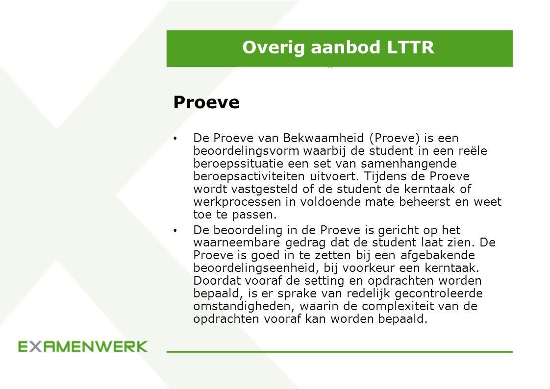 Overig aanbod LTTR Proeve