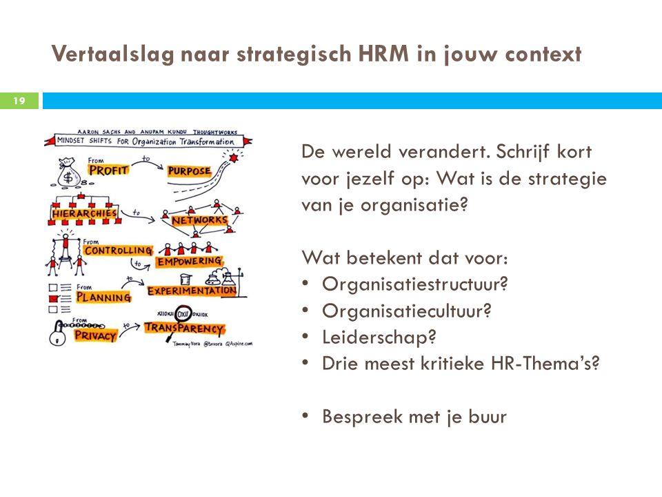 Vertaalslag naar strategisch HRM in jouw context