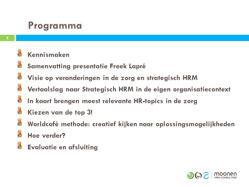 Programma Kennismaken Samenvatting presentatie Freek Lapré