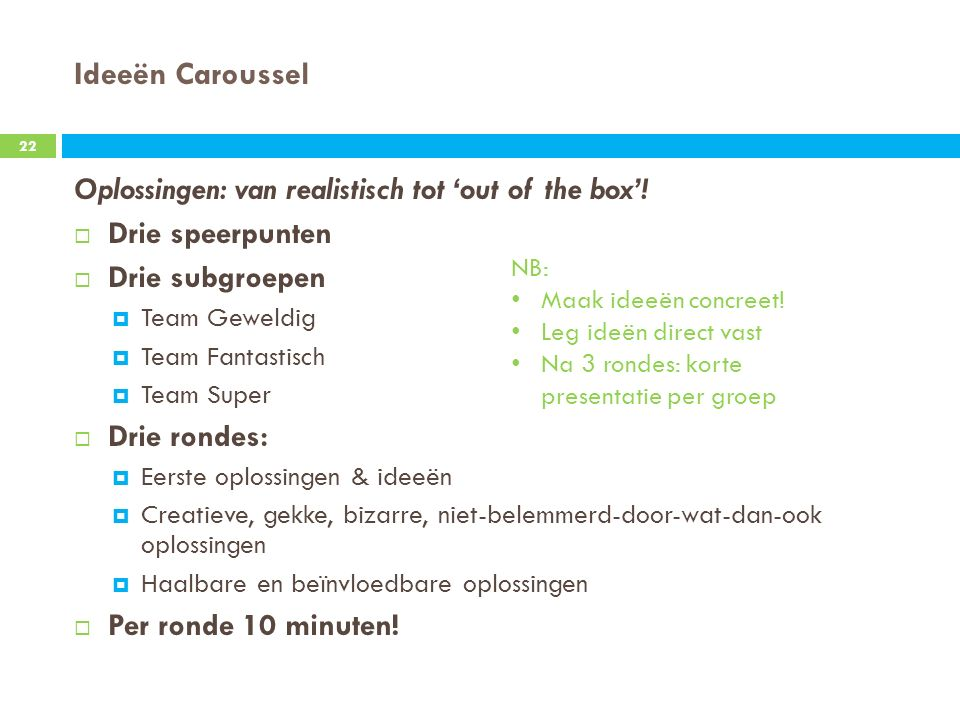 Ideeën Caroussel Oplossingen: van realistisch tot 'out of the box'!