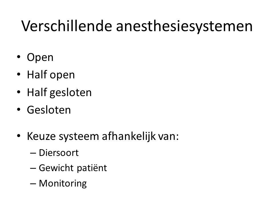 Verschillende anesthesiesystemen
