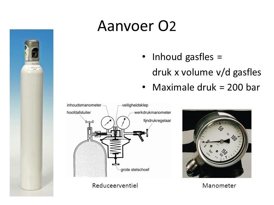Aanvoer O2 Inhoud gasfles = druk x volume v/d gasfles