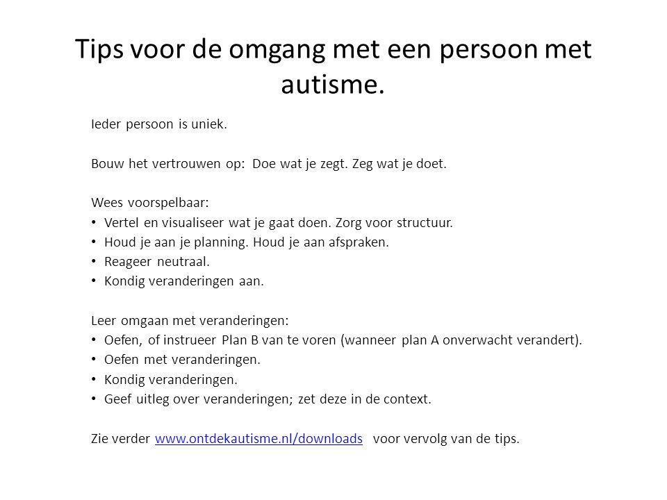 Tips voor de omgang met een persoon met autisme.