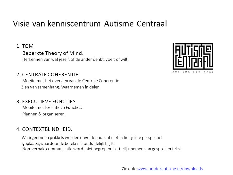 Visie van kenniscentrum Autisme Centraal