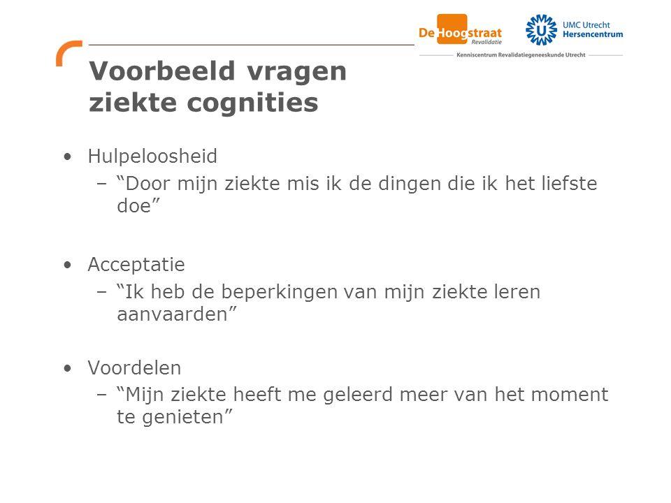 Voorbeeld vragen ziekte cognities