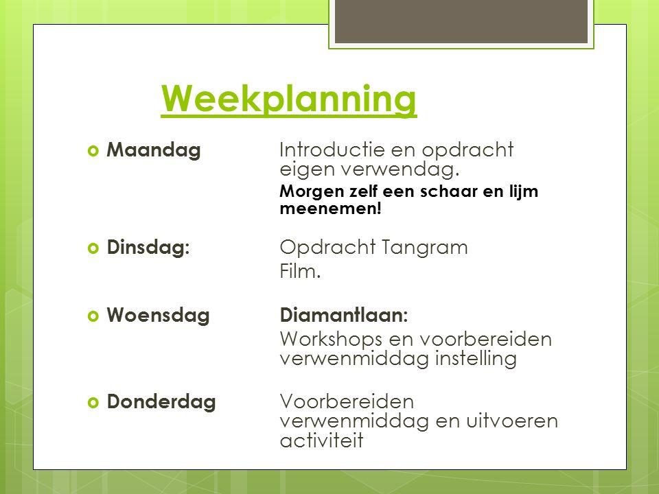 Weekplanning Maandag Introductie en opdracht eigen verwendag.