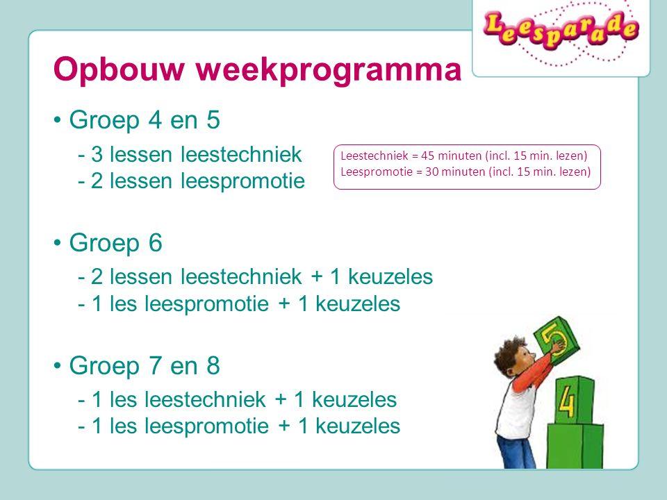 Opbouw weekprogramma • Groep 4 en 5 • Groep 6 • Groep 7 en 8