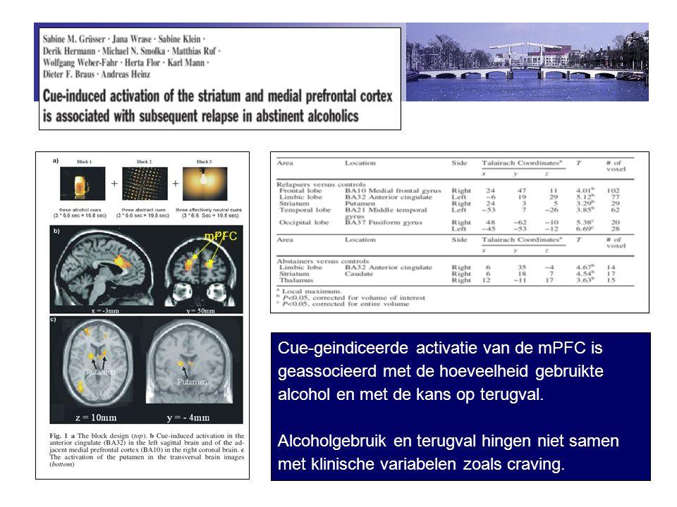 mPFC Cue-geindiceerde activatie van de mPFC is geassocieerd met de hoeveelheid gebruikte alcohol en met de kans op terugval.