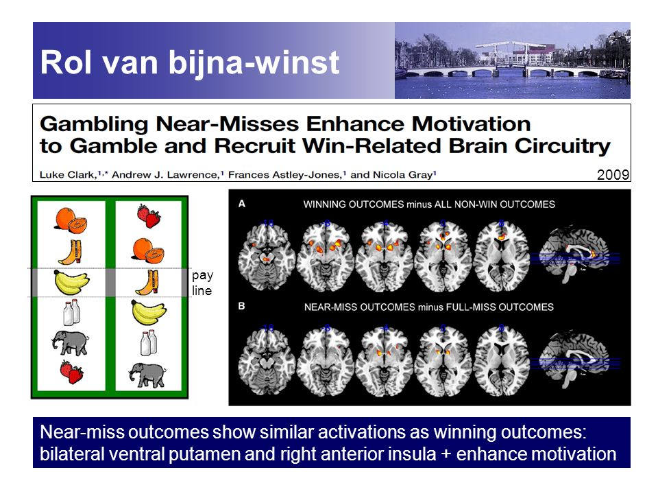 Rol van bijna-winst 2009. pay. line. Near-miss outcomes show similar activations as winning outcomes: