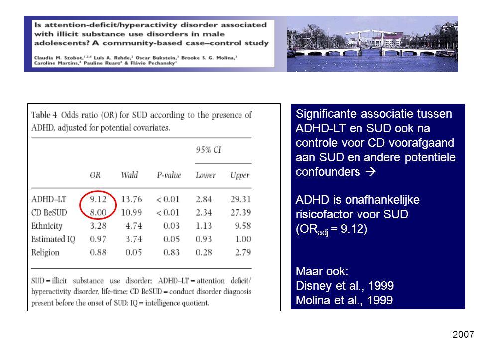 Significante associatie tussen ADHD-LT en SUD ook na