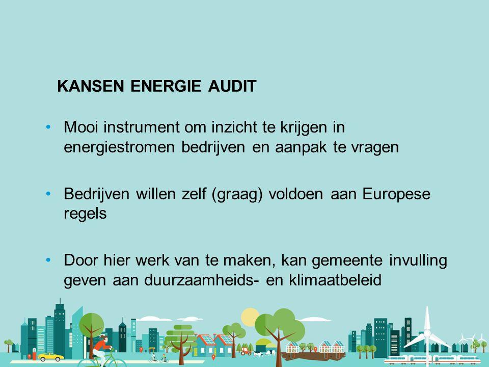 KANSEN ENERGIE AUDIT Mooi instrument om inzicht te krijgen in energiestromen bedrijven en aanpak te vragen.