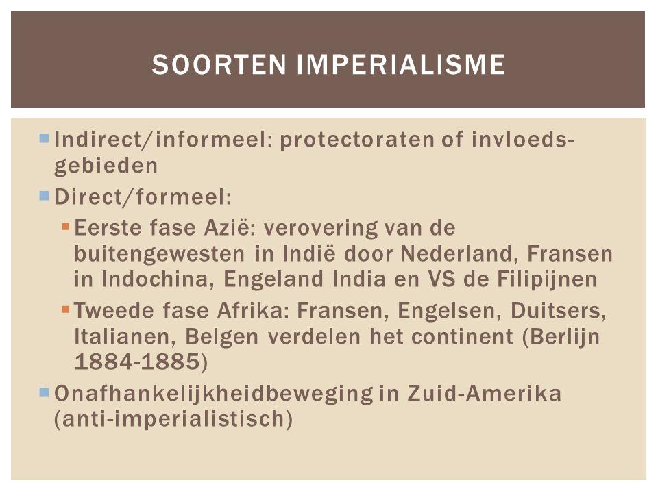 Soorten Imperialisme Indirect/informeel: protectoraten of invloeds- gebieden. Direct/formeel: