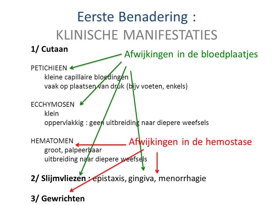 Eerste Benadering : KLINISCHE MANIFESTATIES