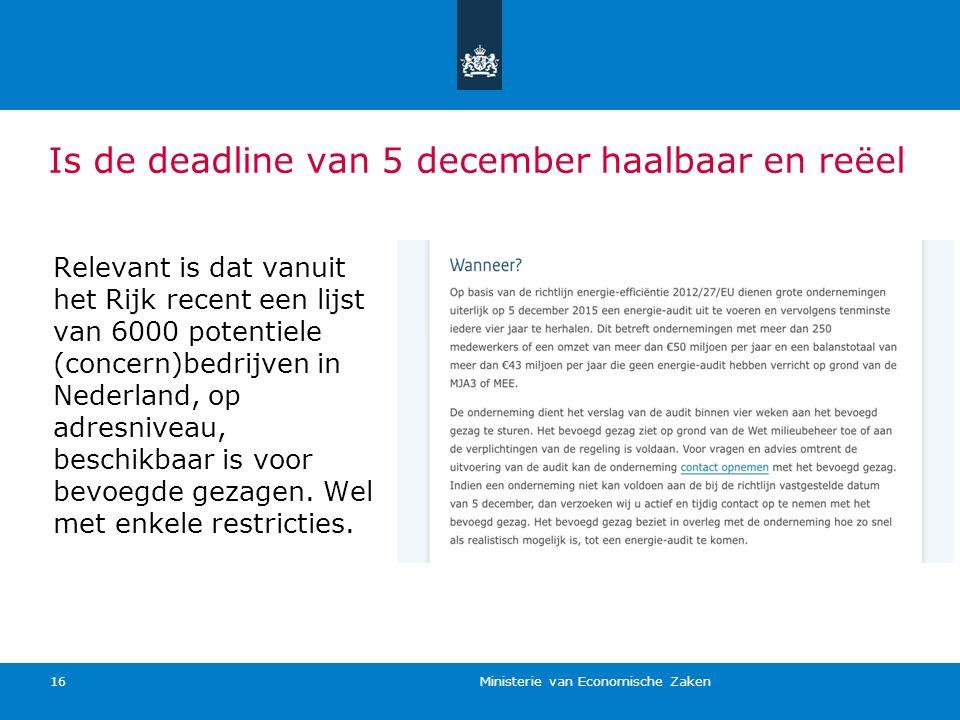 Is de deadline van 5 december haalbaar en reëel