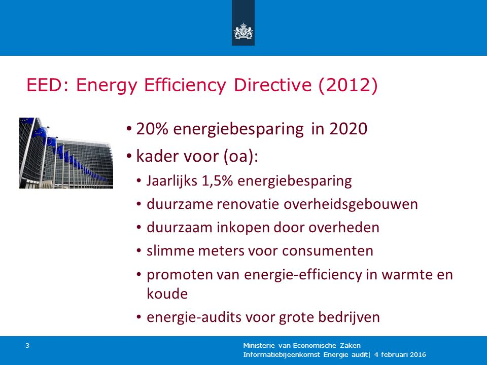 20% energiebesparing in 2020 kader voor (oa):