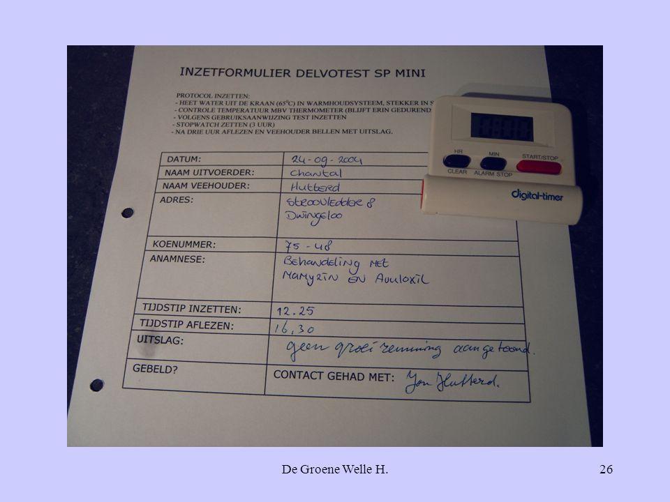 Noteer op de praktijk de uitkomst van deze test, zodat er ook later geen misverstand over kan bestaan.