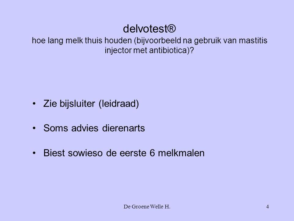 delvotest® hoe lang melk thuis houden (bijvoorbeeld na gebruik van mastitis injector met antibiotica)