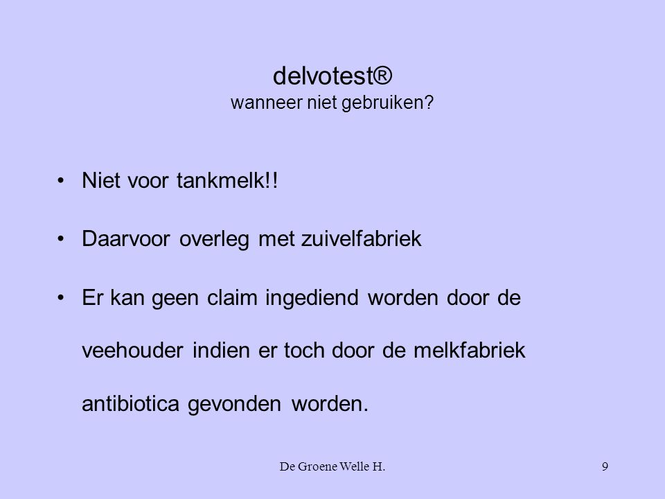 delvotest® wanneer niet gebruiken