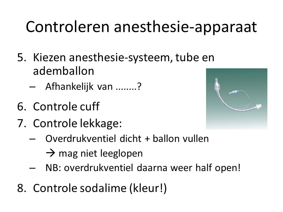 Controleren anesthesie-apparaat