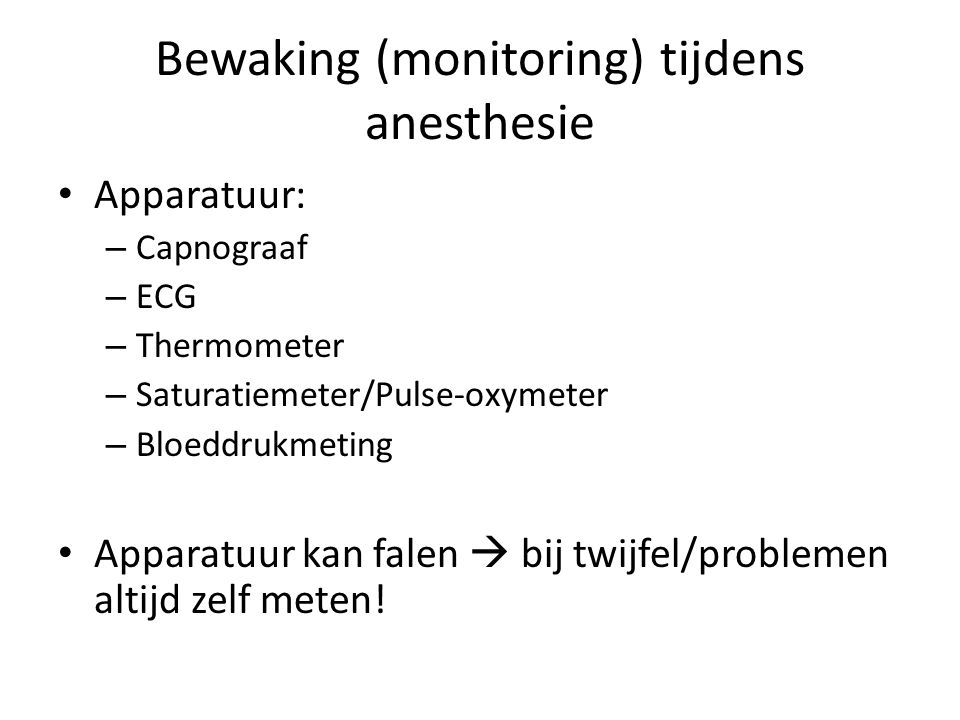 Bewaking (monitoring) tijdens anesthesie