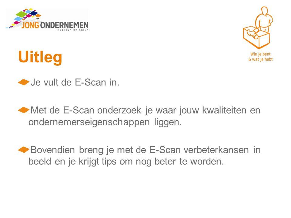 Uitleg Je vult de E-Scan in.