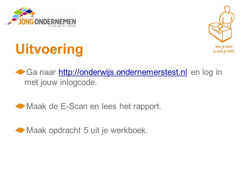 Uitvoering Ga naar http://onderwijs.ondernemerstest.nl en log in met jouw inlogcode. Maak de E-Scan en lees het rapport.