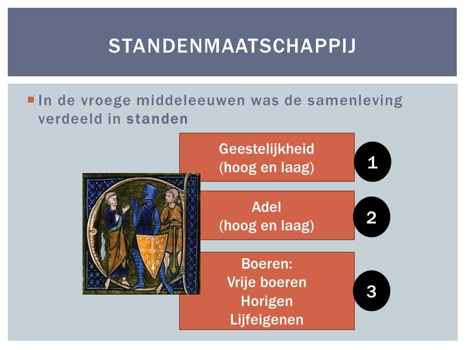 standenmaatschappij In de vroege middeleeuwen was de samenleving verdeeld in standen. Geestelijkheid.