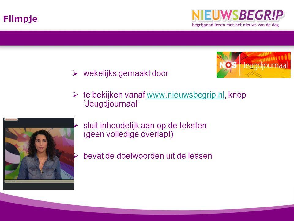 Filmpje wekelijks gemaakt door. te bekijken vanaf www.nieuwsbegrip.nl, knop 'Jeugdjournaal'