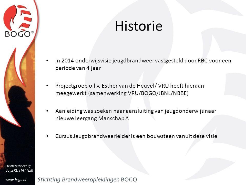 Historie In 2014 onderwijsvisie jeugdbrandweer vastgesteld door RBC voor een periode van 4 jaar.