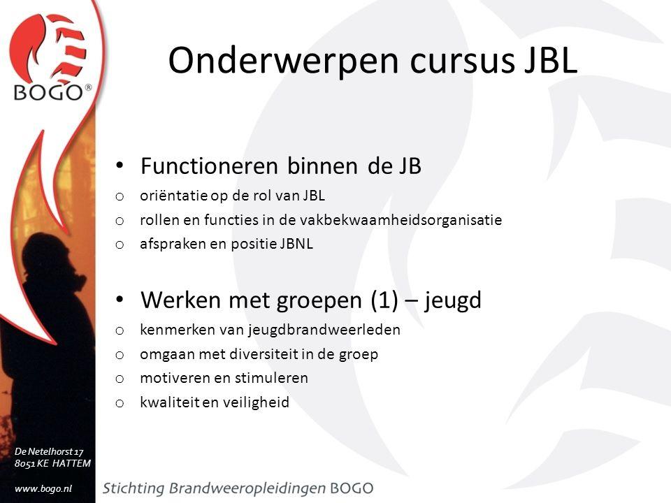 Onderwerpen cursus JBL