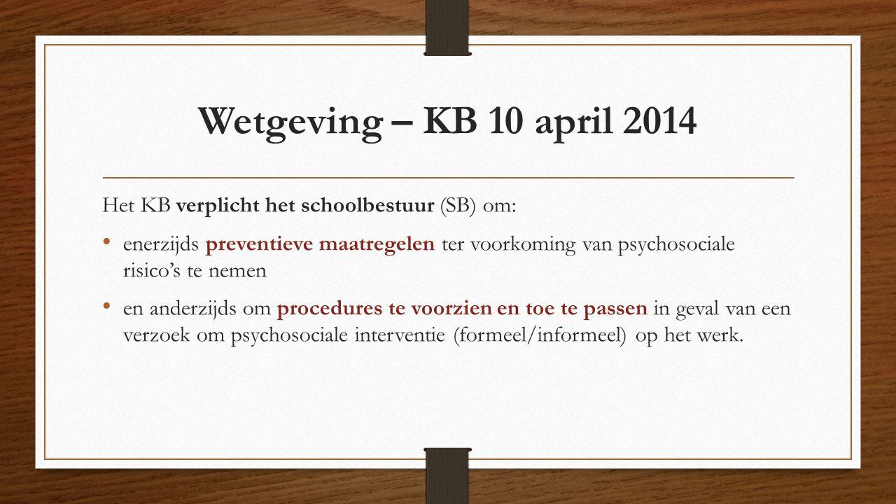 Wetgeving – KB 10 april 2014 Het KB verplicht het schoolbestuur (SB) om: