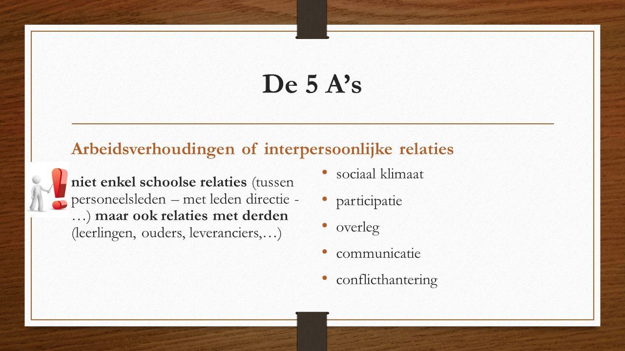 De 5 A's Arbeidsverhoudingen of interpersoonlijke relaties