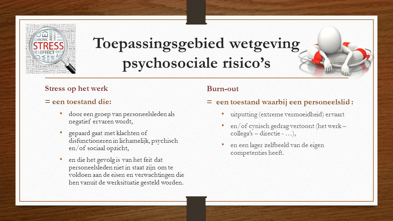 Toepassingsgebied wetgeving psychosociale risico's