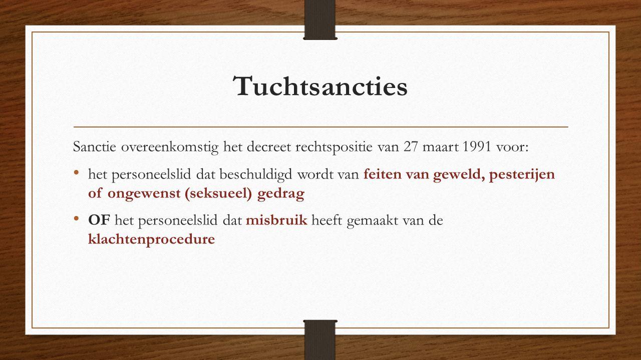 Tuchtsancties Sanctie overeenkomstig het decreet rechtspositie van 27 maart 1991 voor: