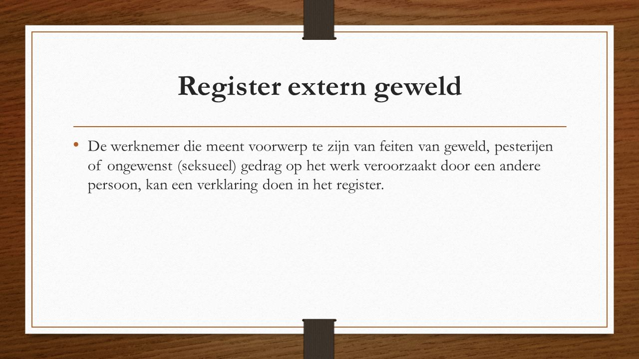 Register extern geweld