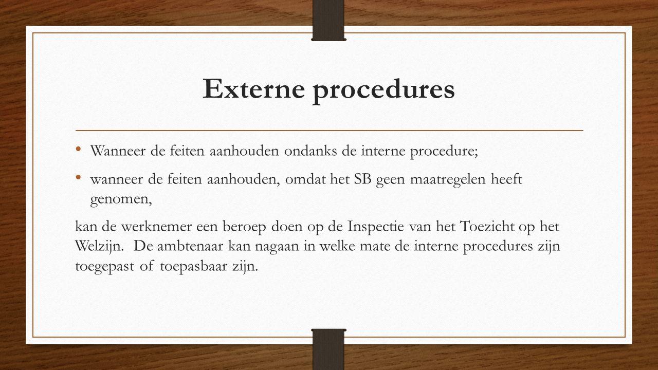 Externe procedures Wanneer de feiten aanhouden ondanks de interne procedure;