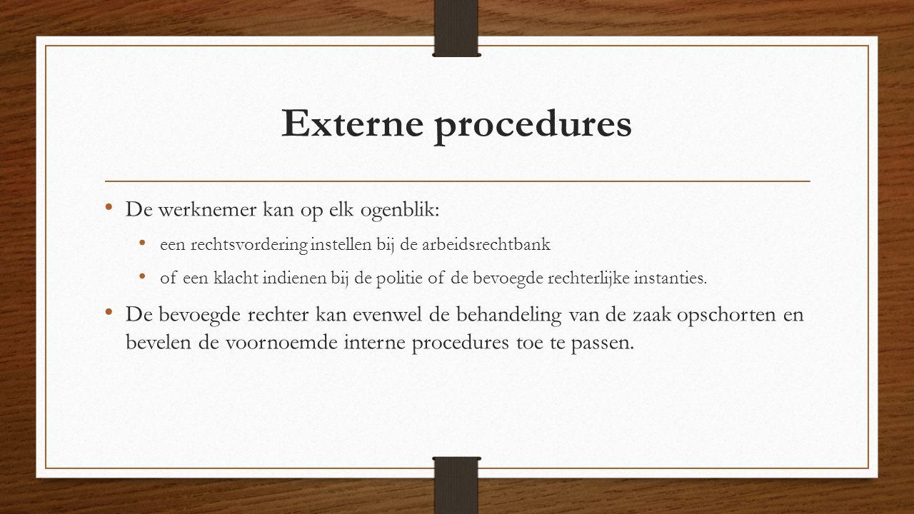 Externe procedures De werknemer kan op elk ogenblik: