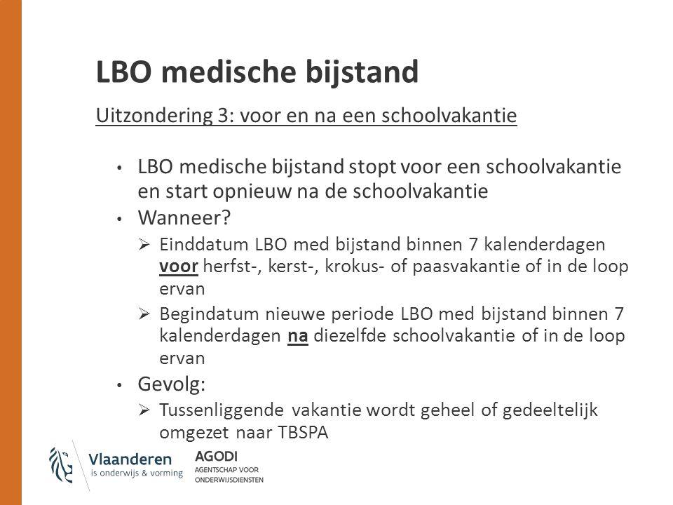 LBO medische bijstand Uitzondering 3: voor en na een schoolvakantie