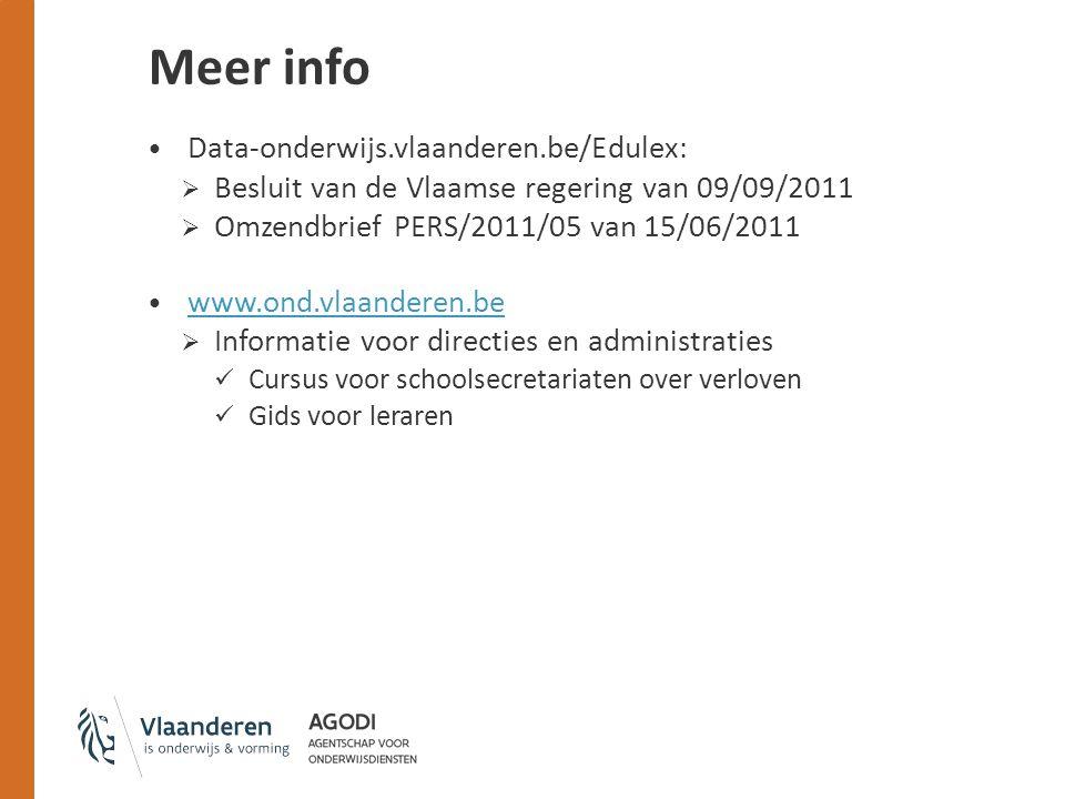 Meer info Data-onderwijs.vlaanderen.be/Edulex: