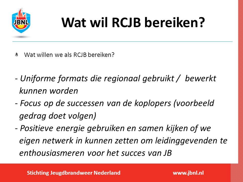 Wat wil RCJB bereiken Wat willen we als RCJB bereiken Uniforme formats die regionaal gebruikt / bewerkt.