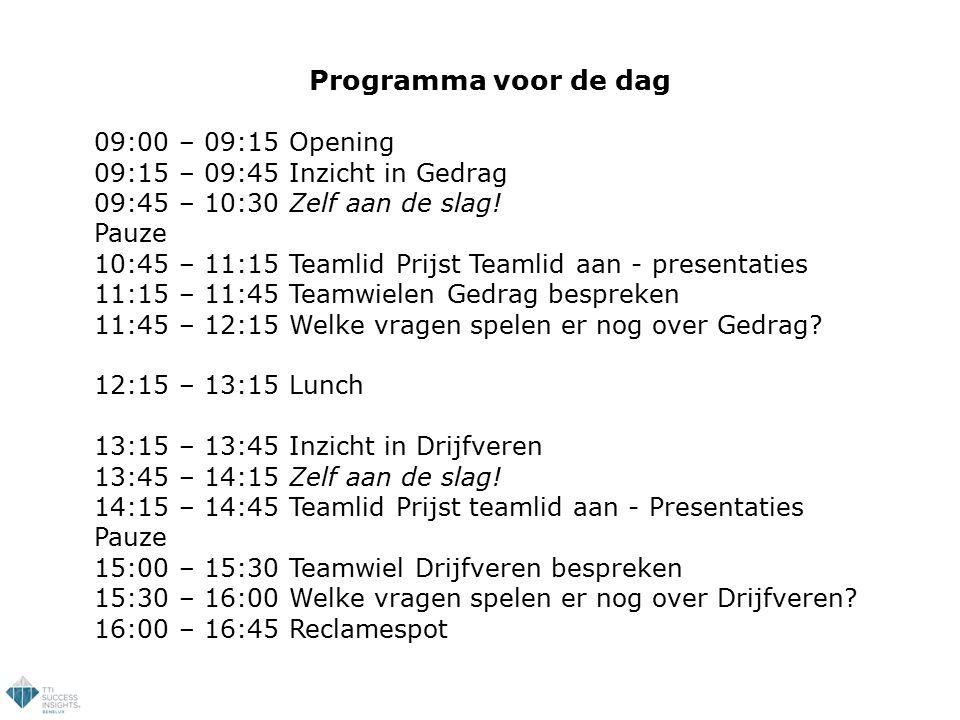 Programma voor de dag 09:00 – 09:15 Opening
