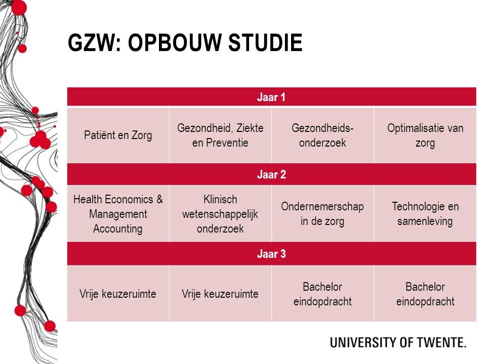 GZW: Opbouw studie Jaar 1 Patiënt en Zorg