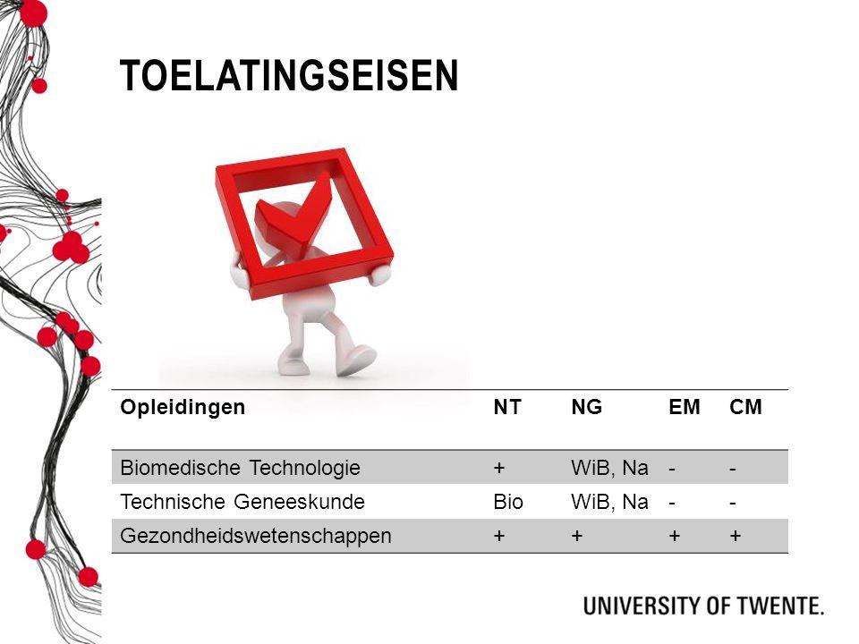 toelatingseisen Opleidingen NT NG EM CM Biomedische Technologie +