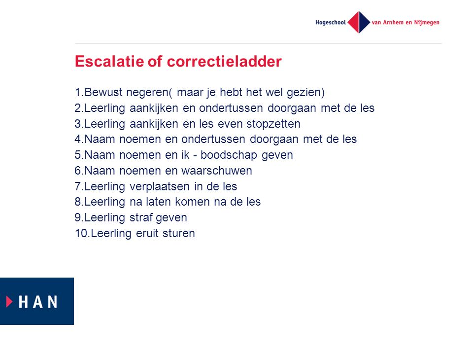 Escalatie of correctieladder