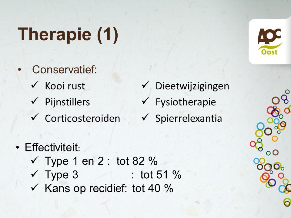 Therapie (1) Conservatief: Kooi rust Dieetwijzigingen Pijnstillers
