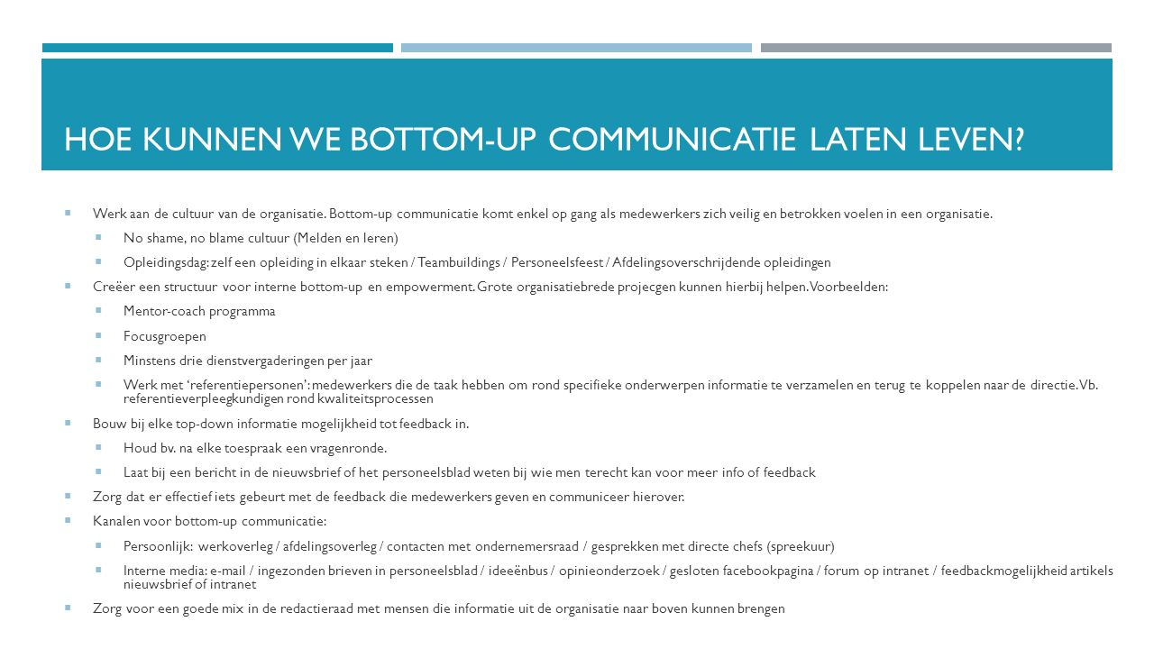 Hoe kunnen we bottom-up communicatie latEN leven