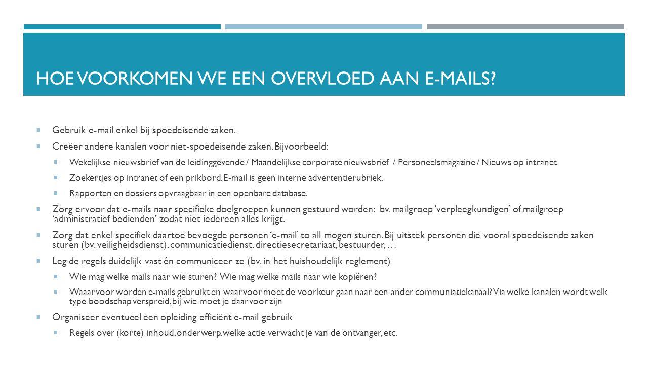 Hoe voorkomen we een overvloed aan e-MAILs