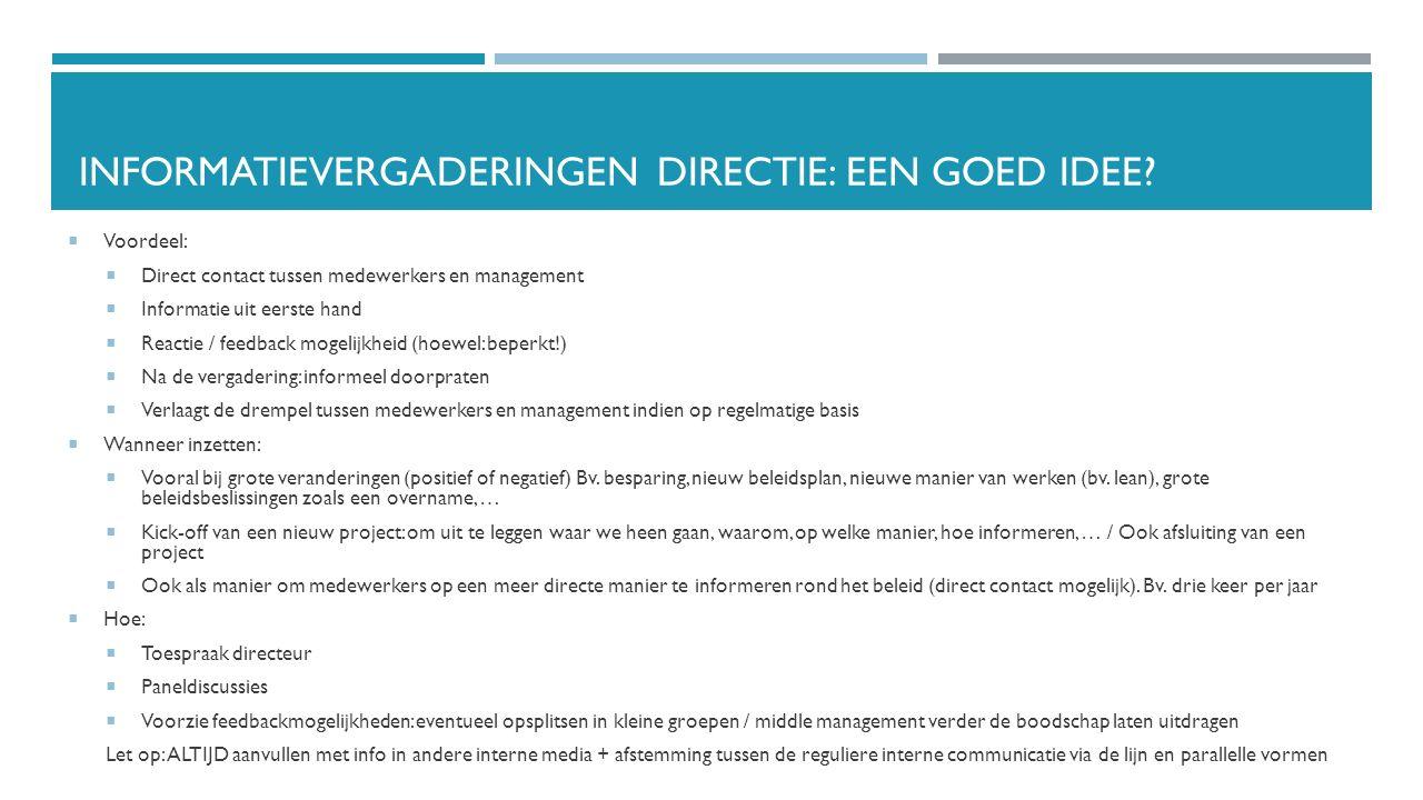 Informatievergaderingen directie: een goed idee