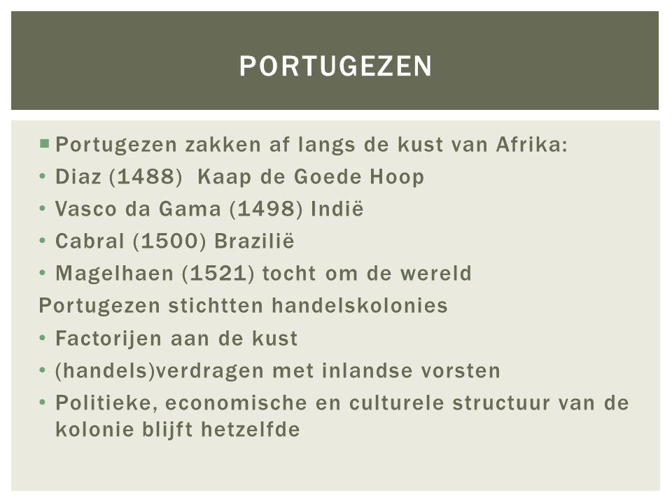 Portugezen Portugezen zakken af langs de kust van Afrika: