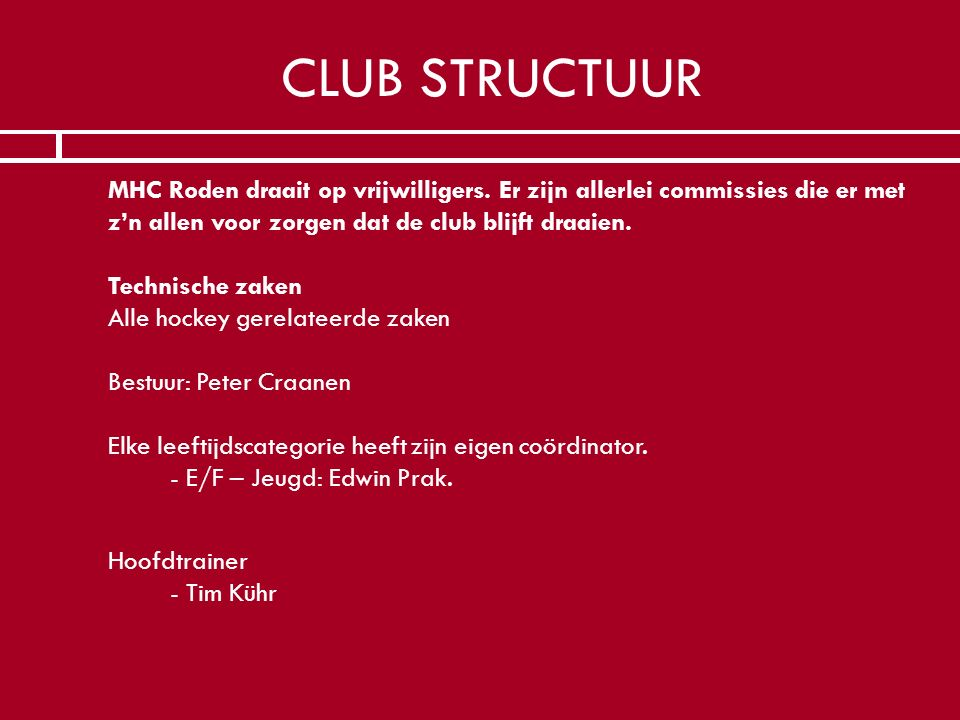 CLUB STRUCTUUR
